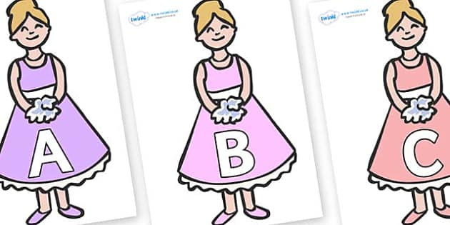 A-Z Alphabet on Bridesmaids - A-Z, A4, display, Alphabet frieze, Display letters, Letter posters, A-Z letters, Alphabet flashcards