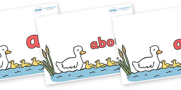 100 High Frequency Words on Five Little Ducks - High frequency words, hfw, DfES Letters and Sounds, Letters and Sounds, display words