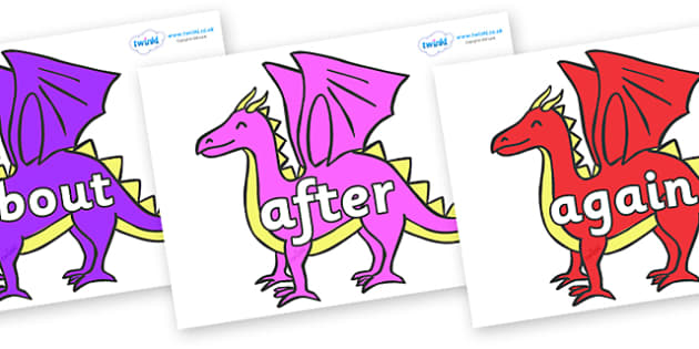 KS1 Keywords on Dragons - KS1, CLL, Communication language and literacy, Display, Key words, high frequency words, foundation stage literacy, DfES Letters and Sounds, Letters and Sounds, spelling