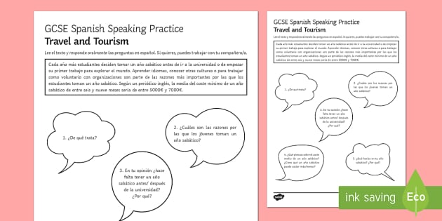 Planinng a Gap Year Speaking Practice Activity Sheets - Spanish