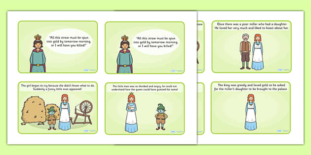 Rumpelstiltskin Story Sequencing (4 per A4) - Rumpelstiltskin, Brothers Grimm,  miller, miller's daughter, spinning wheel,sequencing, story sequencing, story resources, A4, cards,  forest, straw, gold, child, spinning, queen, woods, ring, greedy, pal