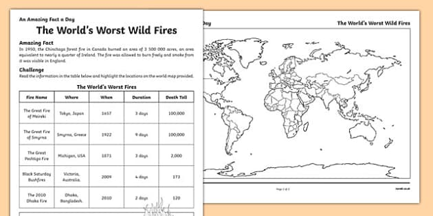 The World's Worst Wild Fires Activity Sheet, worksheet