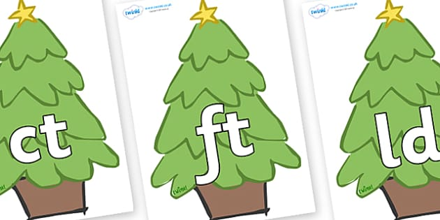 Final Letter Blends on Christmas Trees (Plain) - Final Letters, final letter, letter blend, letter blends, consonant, consonants, digraph, trigraph, literacy, alphabet, letters, foundation stage literacy