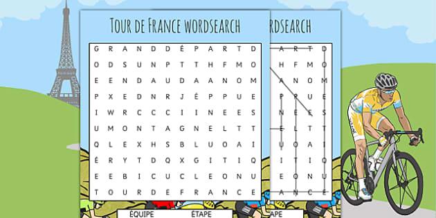 Tour de France Differentiated French Wordsearch - le tour, sport