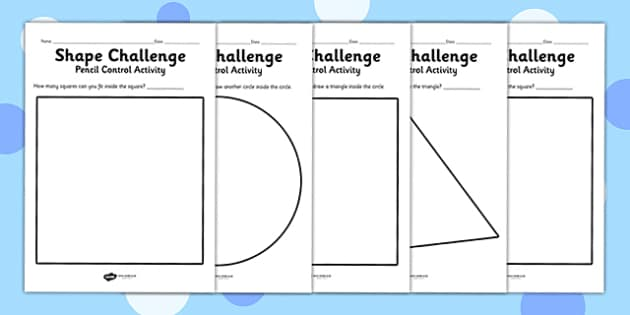 Pencil Control Activity Shape Sheets - fine motor skills, shapes