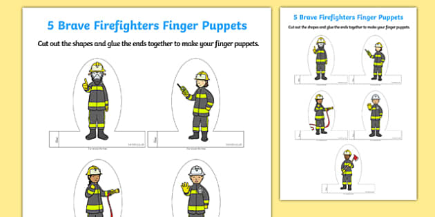 Firefighter Finger Puppets
