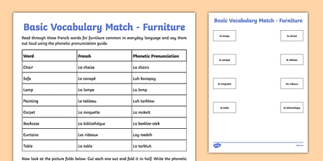 French Basic Vocabulary Match Furniture - french, basic vocabulary, match, furniture, vocabulary