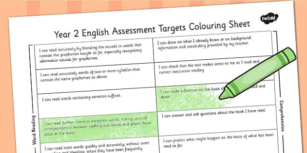 2014 Curriculum Year 2 English Assessment Targets Colouring Sheet