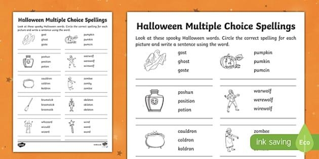 Halloween Multiple Choice Spellings Activity Sheet, worksheet