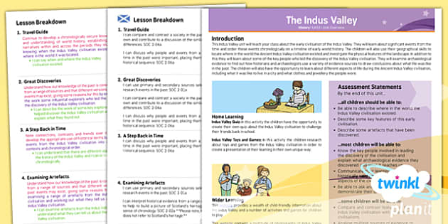 PlanIt - History UKS2 - The Indus Valley Civilisation Planning Overview CfE - history, indus, valley, ks2, 2014, planning
