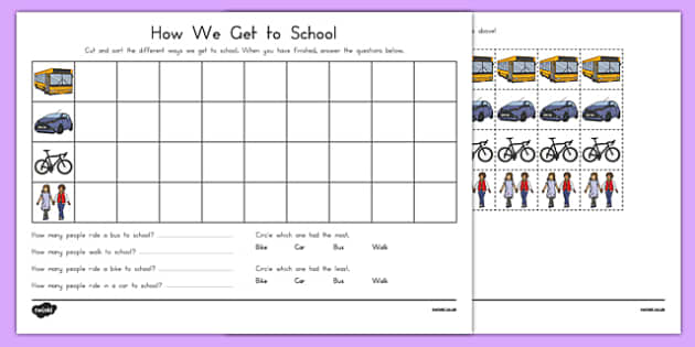 How We Get to School Cutting Skills Activity Sheet, worksheet