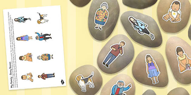 All About Me My Family Story Stone Image Cut Outs - story stone