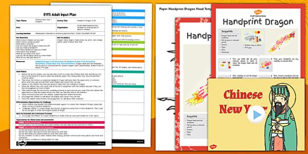 Handprint Dragon Craft EYFS Adult Input Plan and Resource Pack - handprint, dragon, adult input, plan, pack