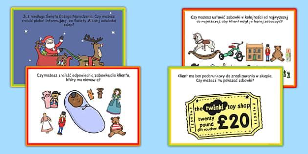Karty z wyzwaniami Sklep z zabawkami po polsku - sprzedawać