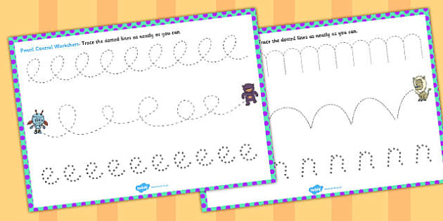 Monster Themed Pencil Control Worksheets - control, monster
