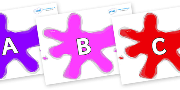 A-Z Alphabet on Splats - A-Z, A4, display, Alphabet frieze, Display letters, Letter posters, A-Z letters, Alphabet flashcards