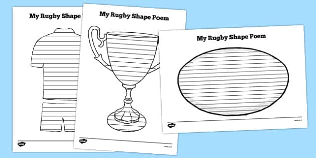 Rugby Shape Poetry - australia, shape poetry, shape, poetry, poem