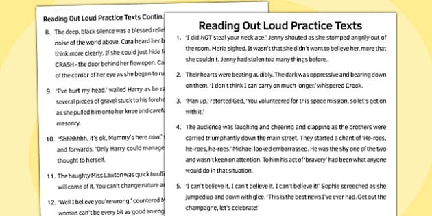 Reading Out Loud Practice Texts - reading, out loud, practice