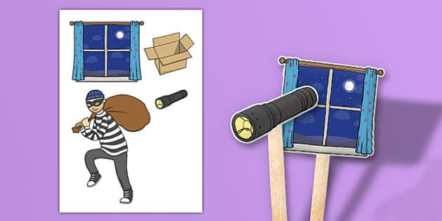 Burglar Stick Puppets - burglar bill, burglar, stick puppets, role play