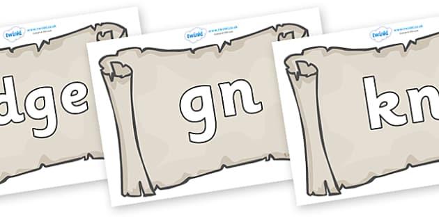 Silent Letters on Scrolls - Silent Letters, silent letter, letter blend, consonant, consonants, digraph, trigraph, A-Z letters, literacy, alphabet, letters, alternative sounds