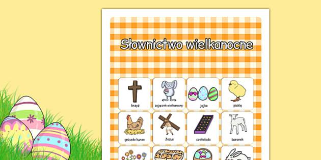 Plakat ze słownictwem Wielkanoc po polsku - święta
