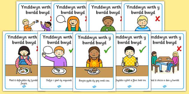 Posteri Arddangos Ymddwyn wrth y bwrdd bwyd - Posteri Arddangos, Ymddwyn wrth y bwrdd bwyd,bod yn gwrtais