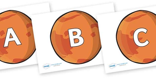 A-Z Alphabet on Mars - A-Z, A4, display, Alphabet frieze, Display letters, Letter posters, A-Z letters, Alphabet flashcards