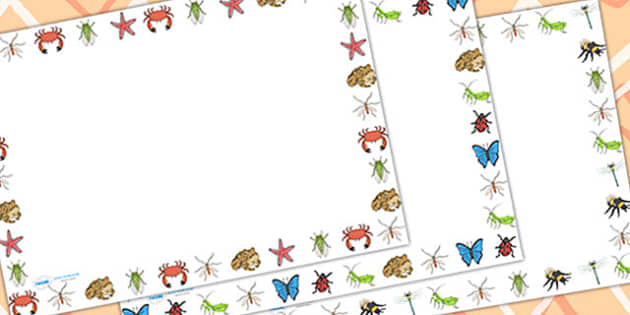 Minibeasts Page Border Landscape - writing template, writing