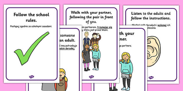 Local Walk Rules Posters Polish Translation - educational visit, trip, outside, public, safety, instructions, guide