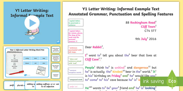 Y1 Letter Writing: Informal Model/Example Text - Example Texts Y1, Letter Writing, Informal letter, exemplification, WAGOLL, exemplification, moderat, ARE, age-related example, model, model text, age-related model