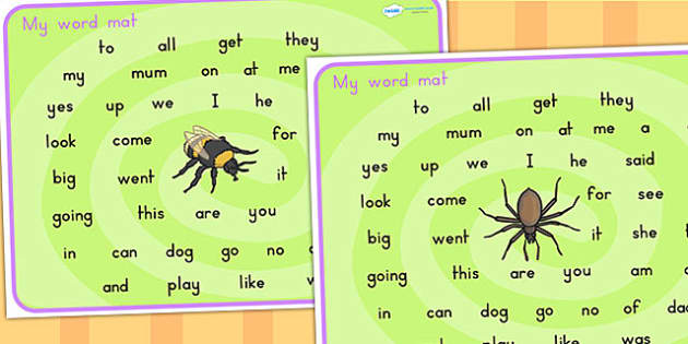 Minibeasts Themed Word Mat FS2 - visual aid, keywords, key words