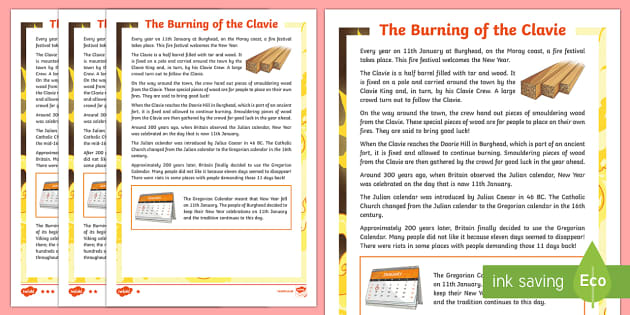 The Burning of the Clavie Differentiated Fact File-Scottish - CfE, calendar events, Scotland, Scottish, traditions, history, celebrations, New Year,Scottish