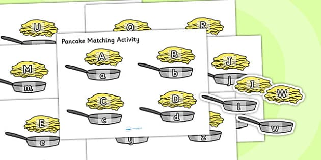 Pancake and Pan Upper and Lower Case Matching Activity - pancake