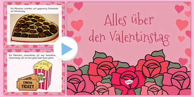 Alles über den Valentinstag EYFS All About Valentine's Day PowerPoint German - german, valentine, love, cupid