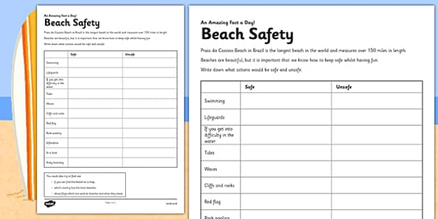 Beach Safety Activity Sheet - beach safety, safety discussion, activity, beach, safety, worksheet