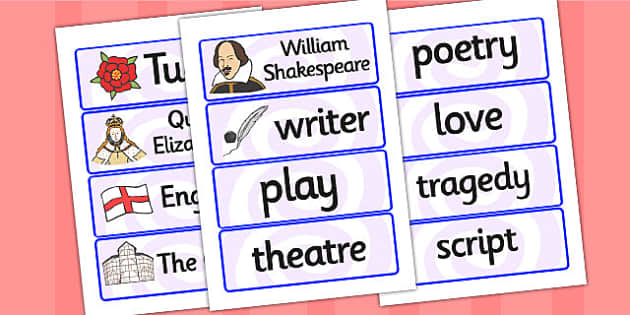 William Shakespeare Word Cards - william shakespear, word cards, topic cards, themed word cards, themed topic cards, key words, key word cards, keyword
