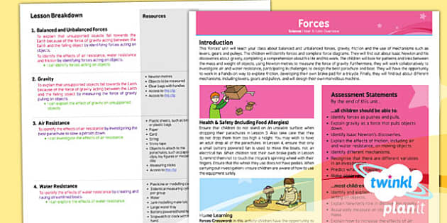PlanIt - Science Year 5 - Forces Planning Overview - planit, science, planning, overview