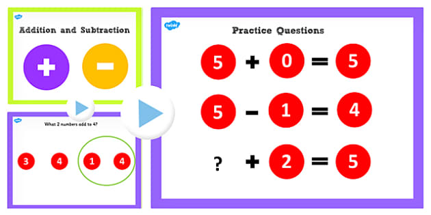 Addition and Subtraction Facts to 5 PowerPoint - number, facts