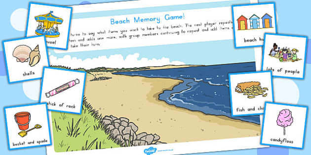 Beach Memory Game - australia, beach, memory, game, activity