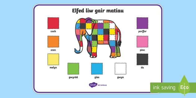 Mat Geiriau 'Elfed' - cymraeg, elmer, colour, word mat, word, mat