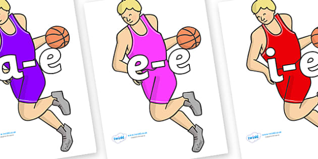Modifying E Letters on Basketball Players - Modifying E, letters, modify, Phase 5, Phase five, alternative spellings for phonemes, DfES letters and Sounds