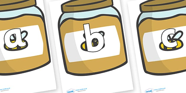 Phoneme Set on Honey Jars - Phoneme set, phonemes, phoneme, Letters and Sounds, DfES, display, Phase 1, Phase 2, Phase 3, Phase 5, Foundation, Literacy