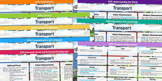 EYFS Transport Themed Lesson Plan and Enhancement Ideas