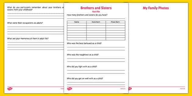 Elderly Care Life History Book Brothers and Sisters Fact File - Elderly, Reminiscence, Care Homes, Life History Books