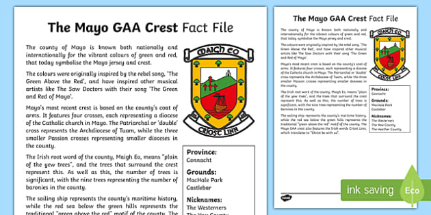 History of Mayo GAA Crest Fact Sheet