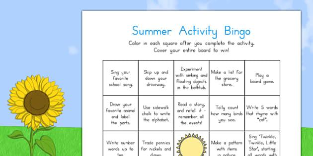Summer Break Activity Bingo - usa, america, summer break, activity, bingo, game