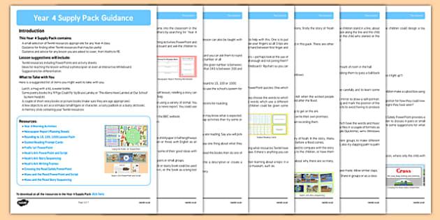 KS2 Year 4 Supply Pack Guidance - ks2, year 4, supply, pack, guidance