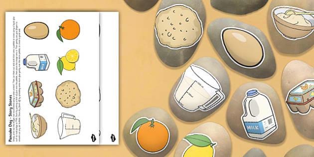 Pancake Day Story Stone Image Cut-Outs - Story stones, stone art, painted rocks, storytelling, festivals, celebrations, Shrove Tuesday