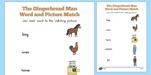 The Gingerbread Man Word and Picture Match - australia, gingerbread man, word, picture, match