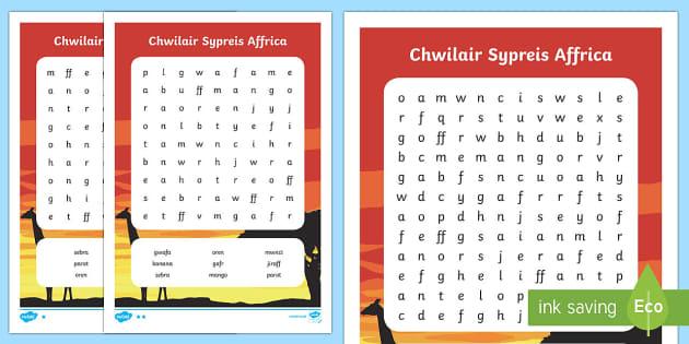 Sypreis Affrica Chwilair Gwahaniaethol - Dysgu Cymraeg fel Ail Iaith, Supreis Affrica, geirfa allweddol, Cymraeg, iaith, cyfnod sylfaen, Wels